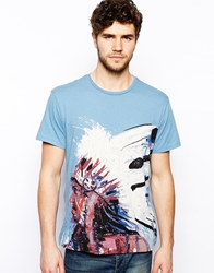Denim And Supply Ralph Lauren T Shirt With Indian Head Print By Dave White Blue