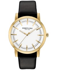 Kenneth Cole New York Men's Black Leather Strap Watch 44X51mm 10030810 Gold