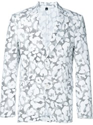 Neil Barrett Graphic Leopard Print Blazer White