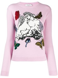 Valentino Jacquard Knitted Jumper Pink