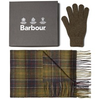 Barbour Scarf And Glove Gift Box Classic And Olive