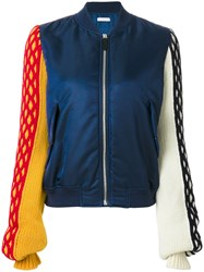 J.W.Anderson Knitted Sleeve Bomber Jacket Polyamide Viscose Blue