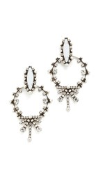 Dannijo Anja Earrings Ox Silver White Crystal