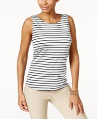 Charter Club Striped Tank Top Only At Macy's Deep Black Combo