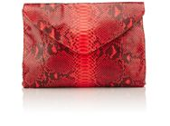 Zagliani Python Helena Envelope Clutch Red
