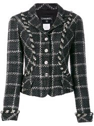 Chanel Vintage 2006'S Checked Fitted Jacket Black