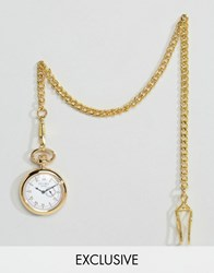 Reclaimed Vintage Gold Pocket Watch With Subdial Gold