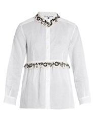 Jupe By Jackie Freret Embroidered Cotton Organdie Shirt White