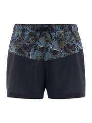 Criminal Men's Camo Foliage Cut And Sew Swim Shorts Green