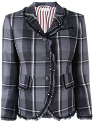 Thom Browne Frayed Plaid Blazer Grey