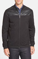 Boss 'Casino' Faux Leather Panel Zip Front Jacket Black