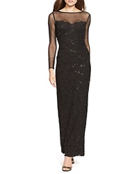 Lauren Ralph Lauren Gown Boat Neck Lace Black Sequin