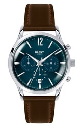 Henry London Knightsbridge Chronological Leather Strap Watch 41Mm