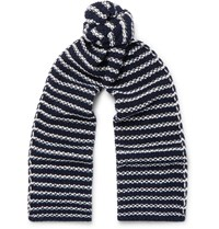 The Workers Club Striped Merino Wool Scarf Blue