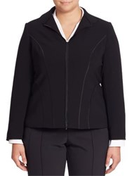 Lafayette 148 New York Long Sleeve Zipper Jacket Black