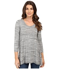 Mod O Doc Space Dye Rayon Spandex Jersey Raw Edge Seamed Tee Charcoal Heathe Women's T Shirt Gray