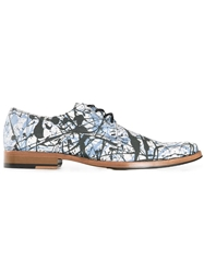 Cameron Helm Paint Splatter Derby Shoes Blue