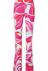 Emilio Pucci Printed Jersey Straight Leg Pants Pink