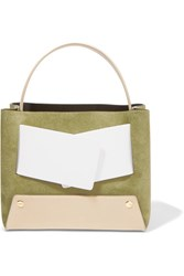 Yuzefi Dinky Color Block Suede And Textured Leather Tote Army Green