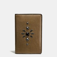 Coach Western Rivets Card Wallet In Sport Calf Leather Fatigue