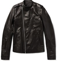 Rick Owens Slim Fit Grained Leather Biker Jacket Black