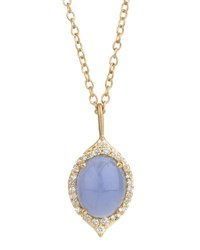 Jamie Wolf Aladdin Small Oval Necklace With Blue Chalcedony And Diamonds