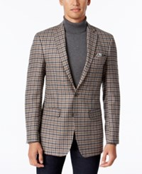 Tallia Men's Big And Tall Light Gray Brown Check Sport Coat Grey Brown