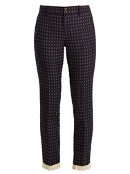 Gucci Geometric Embroidered Wool Twill Trousers Navy