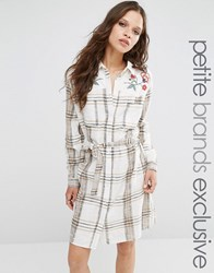 Glamorous Petite Long Sleeve Embroidered Check Dress With Belted Waist Cream