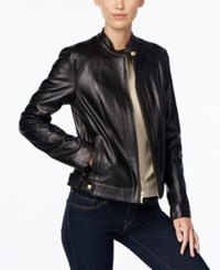 Cole Haan Leather Snap Button Moto Jacket Black