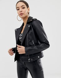 Morgan Pu Biker Jacket In Black