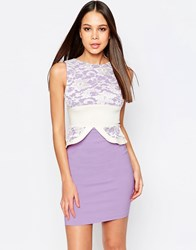 Vesper Ronnie Pencil Dress Wih Peplum And Lace Top Purple