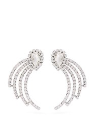 Alessandra Rich Curved Crystal Drop Earrings Crystal