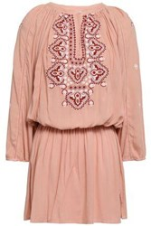 Melissa Odabash Woman Gathered Embroidered Voile Mini Dress Antique Rose