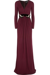 Gucci Belted Jersey Gown Burgundy