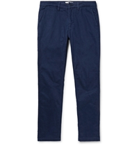Nn.07 Marco Slim Fit Brushed Stretch Cotton Twill Trousers Blue