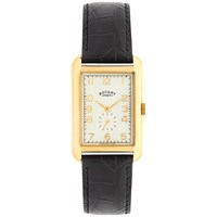 Rotary Men's Portland Leather Strap Watch Black Cream