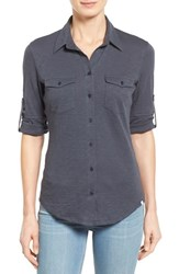 Petite Women's Caslon Roll Sleeve Cotton Knit Shirt Grey Ebony