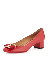 Salvatore Ferragamo Ninna Patent Leather Bow Pump Red Rosso Women's