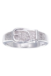 Sterling Silver Diamond Buckle Wedding Band 0.18 Ctw Metallic