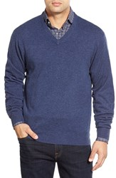 Men's Peter Millar High Twist Cashmere V Neck Sweater Navy
