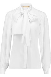 Michael Kors Collection Pussy Bow Pleated Georgette Blouse White