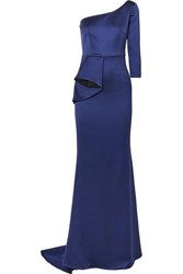 Safiyaa One Shoulder Ruffled Satin Gown Navy