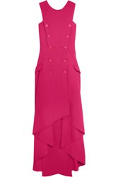 Antonio Berardi Asymmetric Stretch Cady Midi Dress Pink
