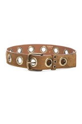 Lanvin Eyelet Suede Belt In Brown