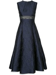 Alex Perry Payson Floral Brocade Midi Dress Acrylic Nylon Polyester Blue