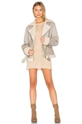 Minkpink Major Tom Aviator Jacket Gray