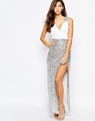 Tfnc Wrap Front Maxi Dress With Sequin Skirt Whitesilver