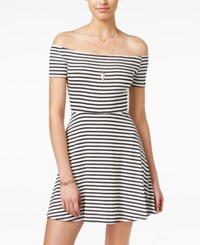 American Rag Striped Off The Shoulder Dress Only At Macy's Black