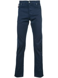 Isaia Slim Fit Trousers Cotton Blue